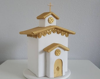 Church cake topper/ centerpiece - white and gold