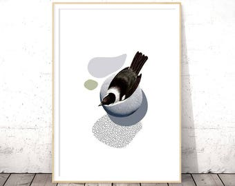 Bird Lover Gift Under 20 Digital Download Modern Minimalist Scandinavian Style Christmas Her Apartment Decor Black White Printable Wall Art