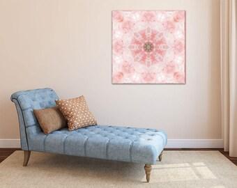 Rose Quartz Mandala Art ~ Canvas Print ~ Crystal Wall Art ~ Pink Modern Art ~ Home Accessories ~ Feng Shui Wall Decor ~ Sacred Geometry