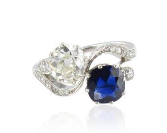 Bague Toi Moi Saphir Diamants Or blanc 18K Belle époque