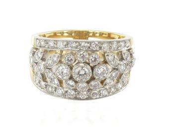 Bague diamants décor végétal Or jaune 18K  Platine Romantique  Moderne  Belle époque
