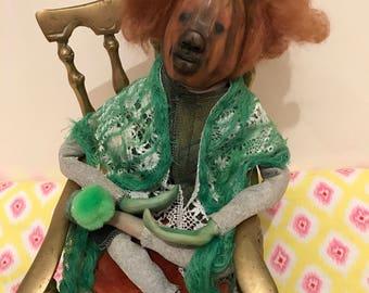 """OOAK handmade pumpkin art doll """"Growth"""""""