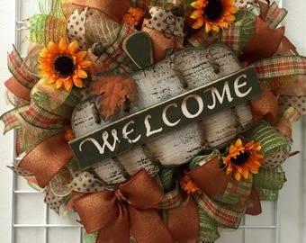 Fall wreath, Welcome fall wreath, Fall Welcome Wreath, Pumpkin Fall Wreath, Fall Door Decor