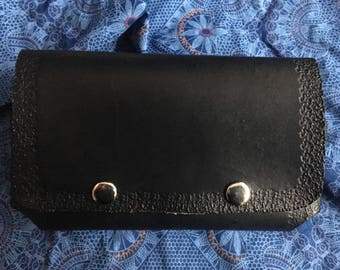 Large, handmade, black leather cellphone case!