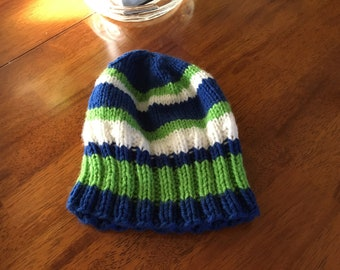 Handknitted, Seahawks, Blue and Green Yarn, Can Make Different Sizes