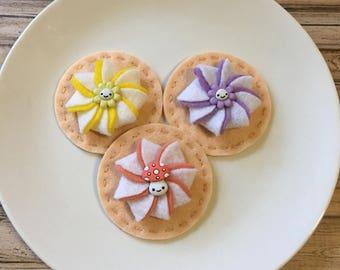 felt cookies, fairytale cookie set, play food cookies, kids kitchen food, pretend cookies, felt tea set