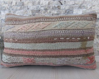 Striped Design Red Colored Kilim Pillow Kilim Cushion 12x20 Bolster Pillow Euro Sham Pillow Accent Pillow Wool Pillow Bohemian Pillow