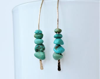 Turquoise Minimalist Earrings, Turquoise Nugget Earrings, Turquoise Jewelry, December Birthstone