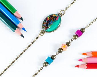 "Necklace green-mint ""Chromatic"" pencil shavings"
