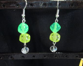 Silver Earring and dice-shaped cube bead