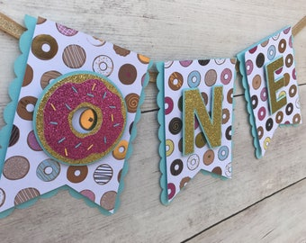 One High Chair Banner- Donut Birthday Banner- Donut Party Birthday Decorations- First Birthday Decorations