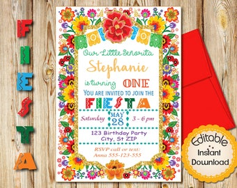 """First Birthday Invitation, Mexican Fiesta Flowers, Gold Glitter, INSTANT download, EDITABLE in Adobe Reader, DIY, Printable, 5""""x7"""" each"""