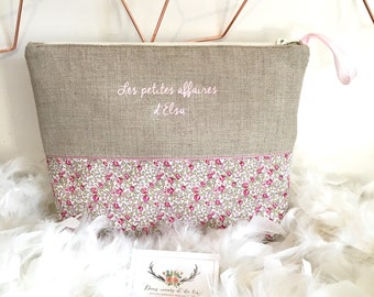 Personalized toiletry bag in linen and Liberty of London Eloise pink