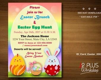 INSTANT DOWNLOAD Easter Invitation, Easter Party Invitation Printable, Easter Egg Hunt, Brunch Invites, Instant Download DIY Editable pdf