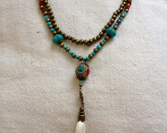 NECKLACE BRONZE AND PEARL TOUAREG