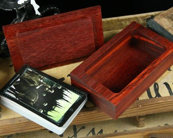 African Padauk Tarot Jewelry Trinket Box - Divination Druid Magic Pagan Wicca
