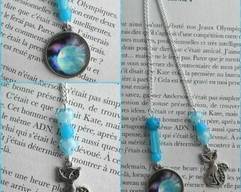 Bookmark jewelry kitten in the Moonlight