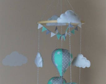 Hot air balloon baby mobile with bunting mint star chevron grey polka Ready to ship