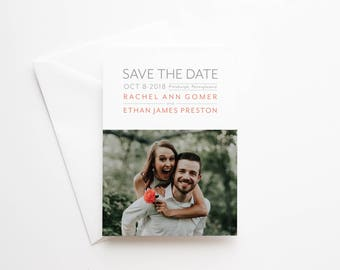Printed Photo Save the Date Cards for Weddings - Premium Quality Paper and Envelopes - 5x7 - Engaged - Modern Minimalist - Typography