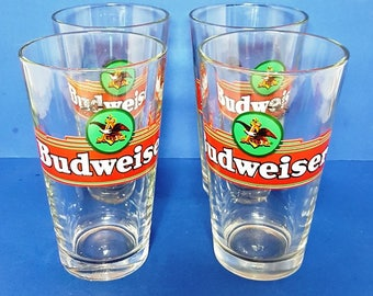 Vintage Budweiser Beer Pint Glasses / Set 4 - Official Anheuser Busch Product