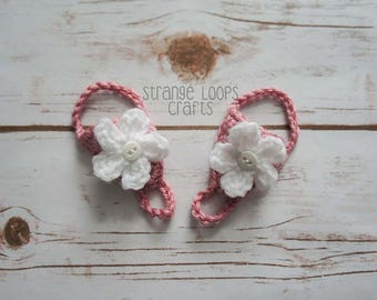 Baby Barefoot Sandals - Pink Sandals with White Flower