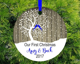 2017 Christmas Ornament Our First Christmas Ornament Personalized Christmas Ornament Love Birds Wedding Tree Ornament