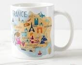 Traveler Gift, France Travel Decor, Travel Lover Gift, France Mug, France Map, Map of France, France Souvenirs, Paris Map, France Cup, Mugs
