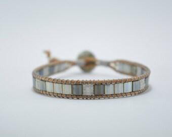 Mens bracelet gray Japanese glass beads