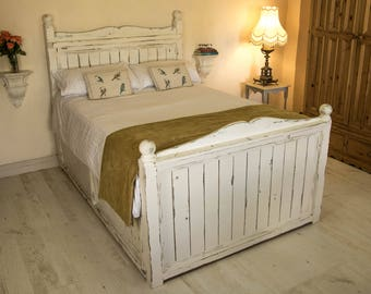 Rustic wood bed , handmade , unique high bed