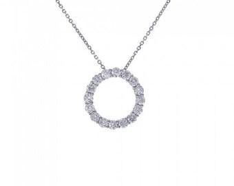 1.50 Carat Diamond Eternity Pendant 14K White Gold