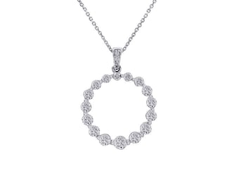 1.50 Carat Diamond Round Shine Eternity Pendant 14K White Gold