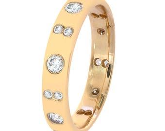 0.55 Carat Diamond Wedding Band Ring 14K Yellow Gold