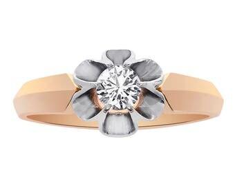 0.45 Carat Round Cut Diamond Vintage Engagement Ring 14K Rose Gold
