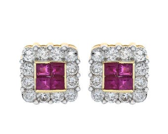 0.40 Carat Ruby & 0.75 Carat Diamond Stud Earrings 14K Yellow Gold