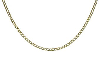 """Curb Link Diamond Cut 18K Yellow Gold Over Sterling Silver 16"""" Chain Made In Italy"""
