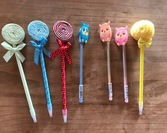 Pom pom pen, owl pen, loli pop pen. planner accessories, supplies, decorations. planner, pens, stationary, writing supplies.