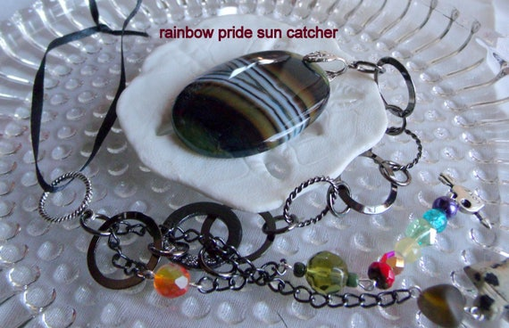 Gay pride sun catcher - rainbow colors - LGBT - lesbian - trans - window decoration -  agate pendant - dalmatian jasper arrow head - gift