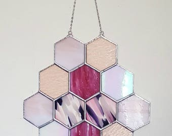 Pink, Honeycomb, Stained Glass Panel, Suncatcher, Geometric Wall Art, Tiffany, Suncatcher, Mid Century Modern, Sandinavian, Wedding