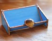 Glass Business Card Holder - Denim Blue and Tigers Eye Heart