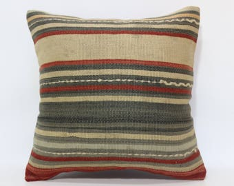20x20 Striped Kilim Pillow Boho Pillow 20x20 Decorative Kilim Pillow Ethnic Pillow Anatolian Kilim Pillow Cushion Cover  SP5050-2050