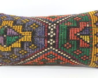 Embroidered Kilim Pillow Multicolor Kilim Pillow Boho Pillow Ethnic Pillow 12x24 Lumbar Kilim Pillow Floor Pillow Cushion Cover SP3060-1151