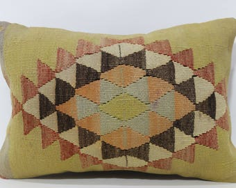 Geometric Kilim Pillow Sofa Pillow Handwoven Kilim Pillow 16x24 Lumbar Kilim Pillow Handwoven Kilim Pillow Cushion Cover SP4060-715