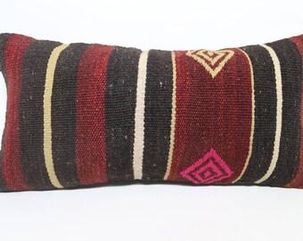 Striped Kilim Pillow Boho Pillow 12x24 Lumbar Kilim Pilllow Ethnic Pillow Decorative Kilim Pillow Boho Pillow Cushion Cover SP3060-1485