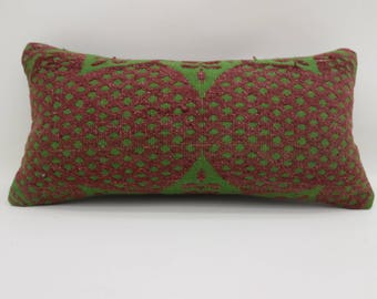 10x20 red and green kilim pillow vintage kilim pillow decorative kilim pillow anatolian kilim pillow bedrrom pillow lumbar pillowSP2550-1553