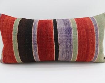 12x24 Pillow Throw Pillow Boho Pillow Stripe Kilim Pillow 12x24 Red and Purple Pillow Multicolor Pillow  Pillow Cushion Cover SP3060-1696