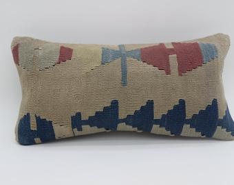10x20 Kilim Pillow Embroidery Kilim Pillow Geometric Pillow 10x20 Kilim Pillow Cover Aztec Pillow Blue Pillow Arrow Pillow Cover SP2550-1715