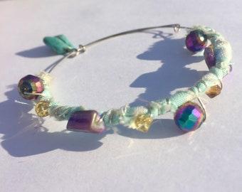 Boho**Gypsy**Aqua Fabric Beaded Adjustable Bangle Bracelet