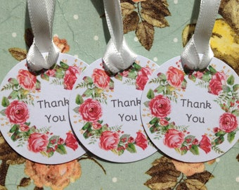 Wedding favor Small Floral Wreath Tags Thank You Tags Wishing Tree Tags Shabby Chic Labels party tags Pack of 20
