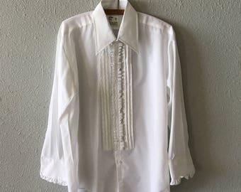 Vintage Tuxedo Ruffle White and Black 1970's 70's Ruffled Tuxedo Shirt by After 6
