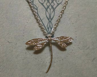 Silver Dragonfly Necklace, with Free Earrings